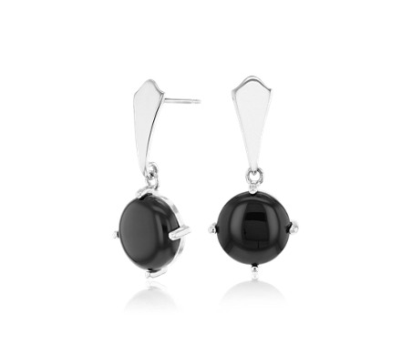 Round Black Onyx Drop Earrings in Sterling Silver (9mm)