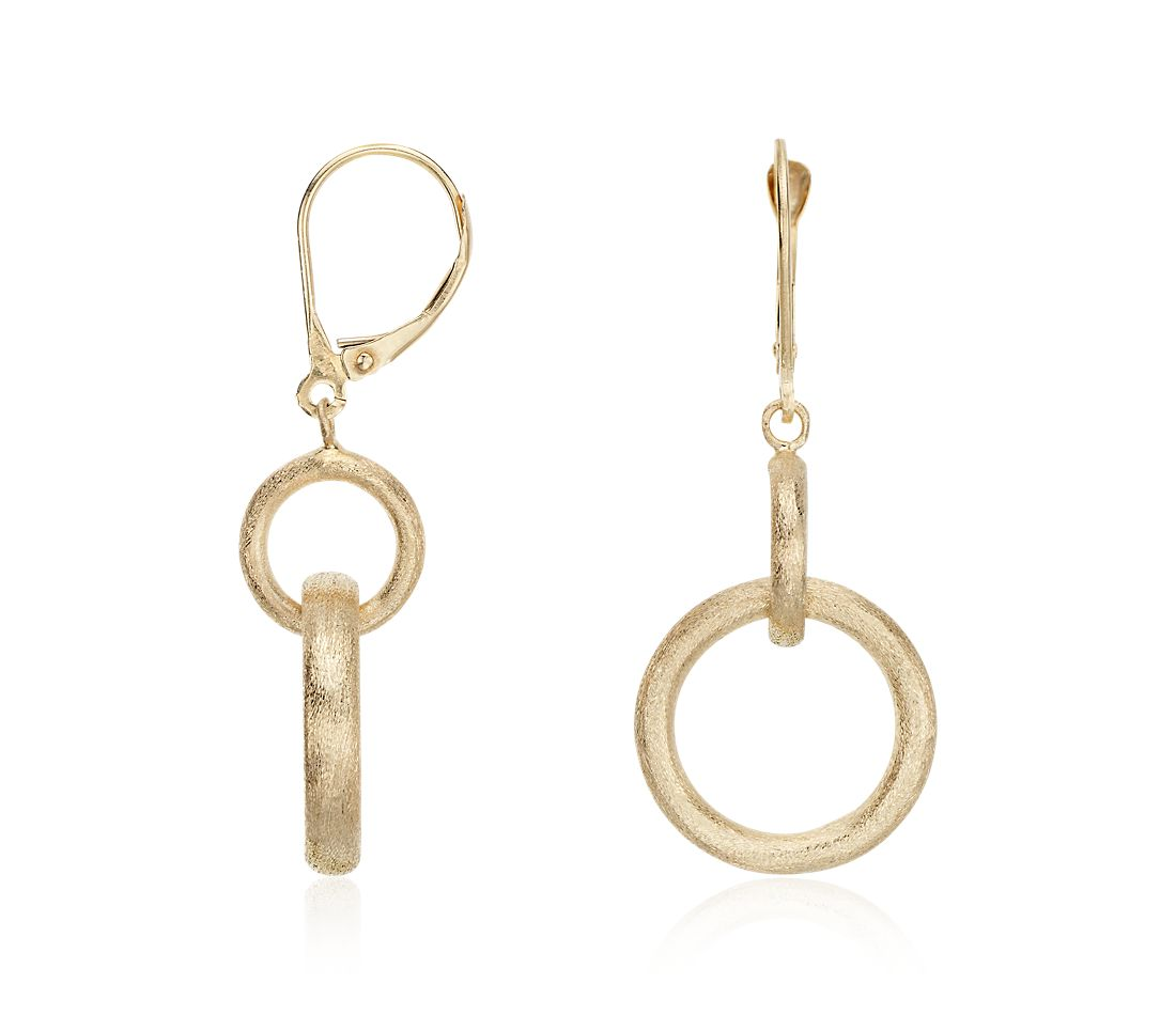 Round Dangle Earrings in 14k Yellow Gold