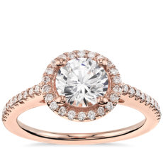 1 Carat Round Classic Halo Diamond Engagement Ring in 14k Rose Gold - F/VVS1