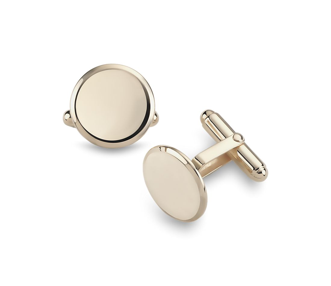 Round Cuff Links in Yellow Gold Vermeil