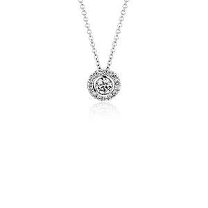 Pendentif halo de diamants ronds sertis clos en or blanc 14carats (1/2carat, poids total)