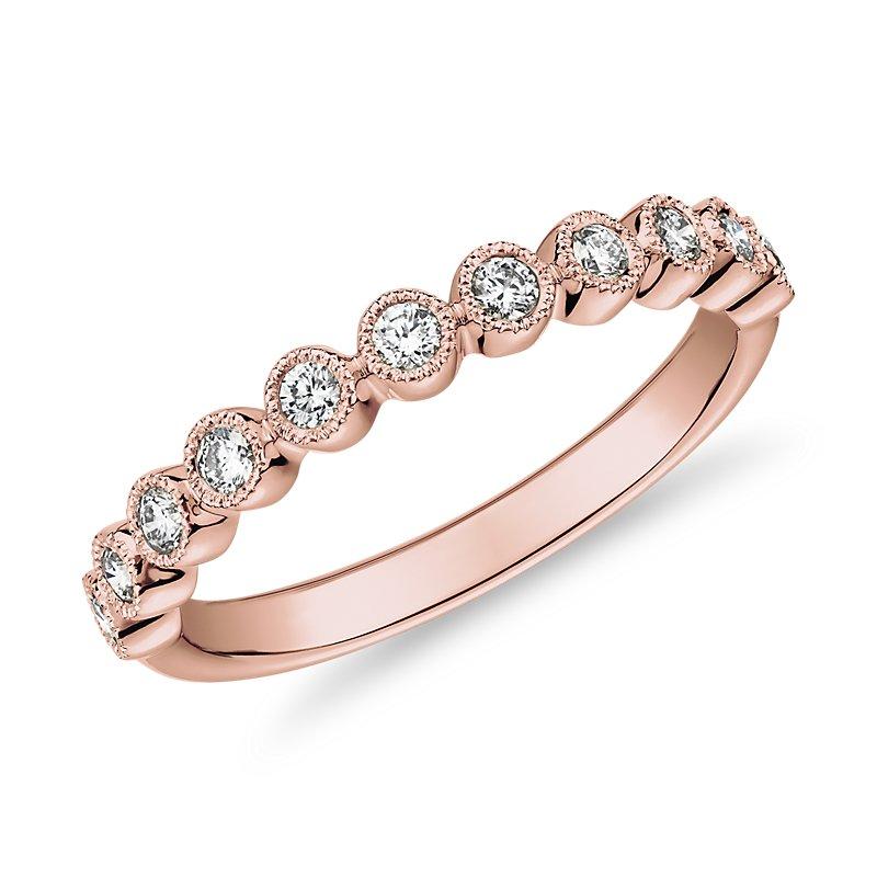 Round Dot Milgrain Diamond Ring in 14k Rose Gold (1/4 ct. tw.)