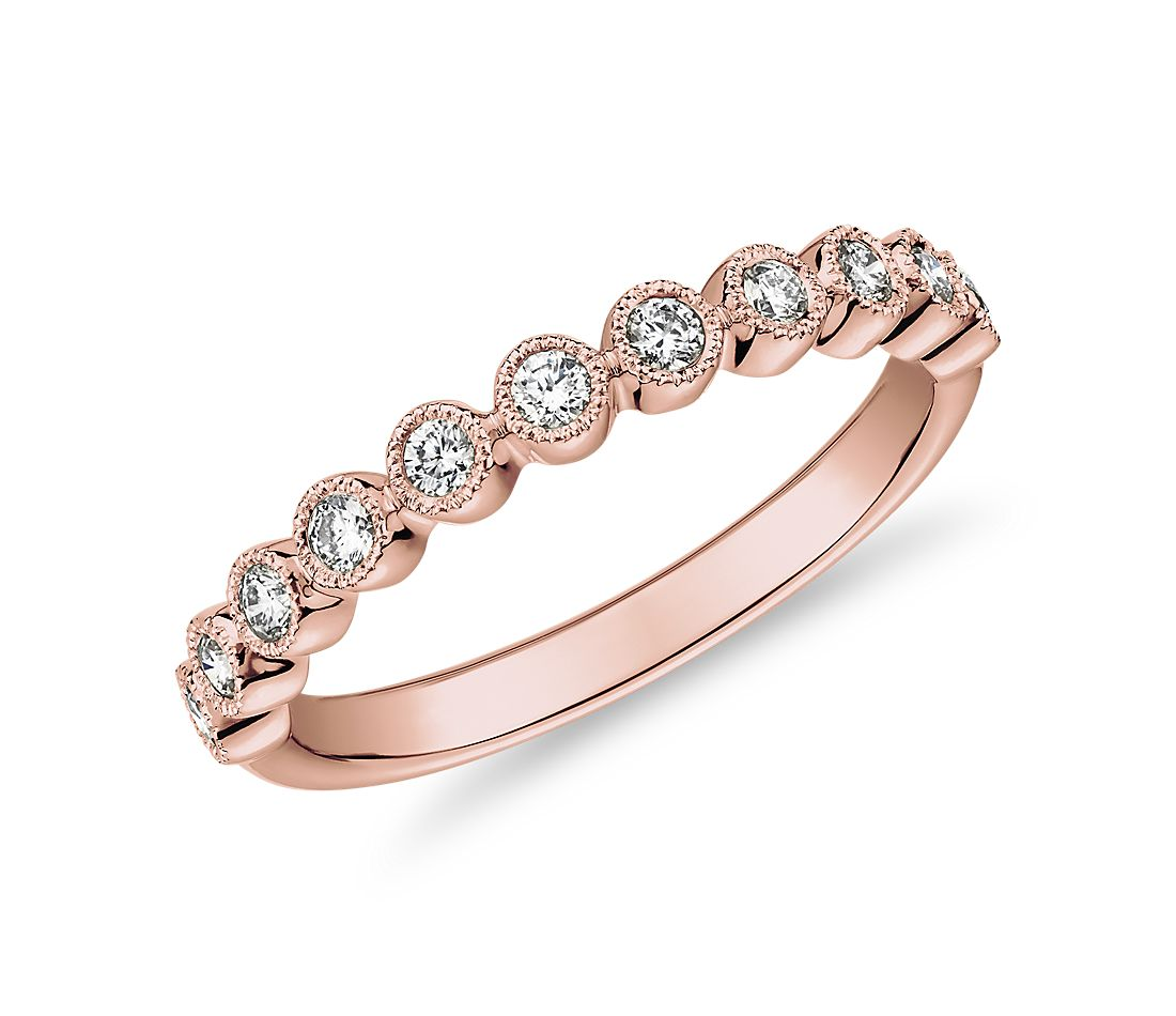 Round Dot Milgrain Diamond Ring in 14k Rose Gold (1/4 ct. tw.)