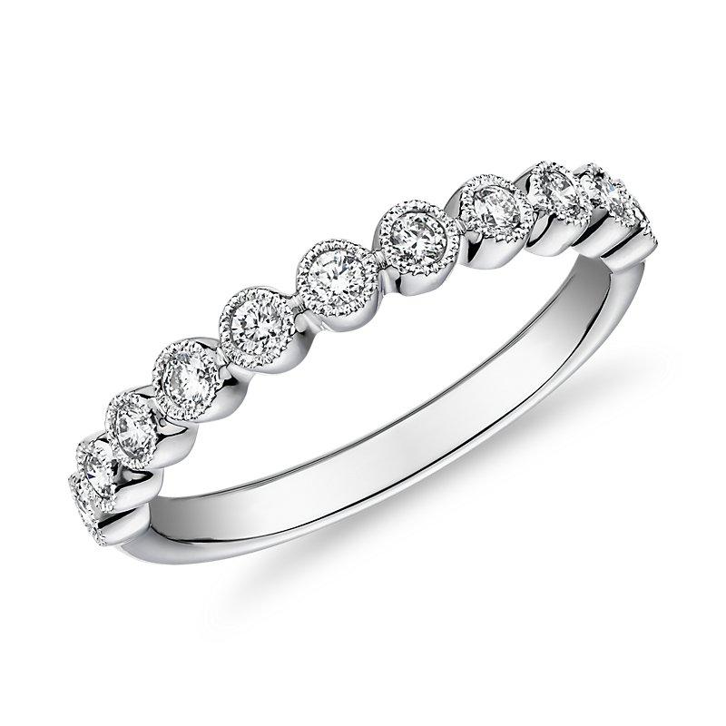 Round Dot Milgrain Diamond Ring in 14k White Gold (1/4 ct. tw.)