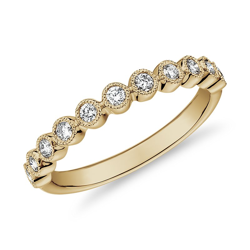 Round Dot Milgrain Diamond Ring in 14k Yellow Gold (1/4 ct. tw.)