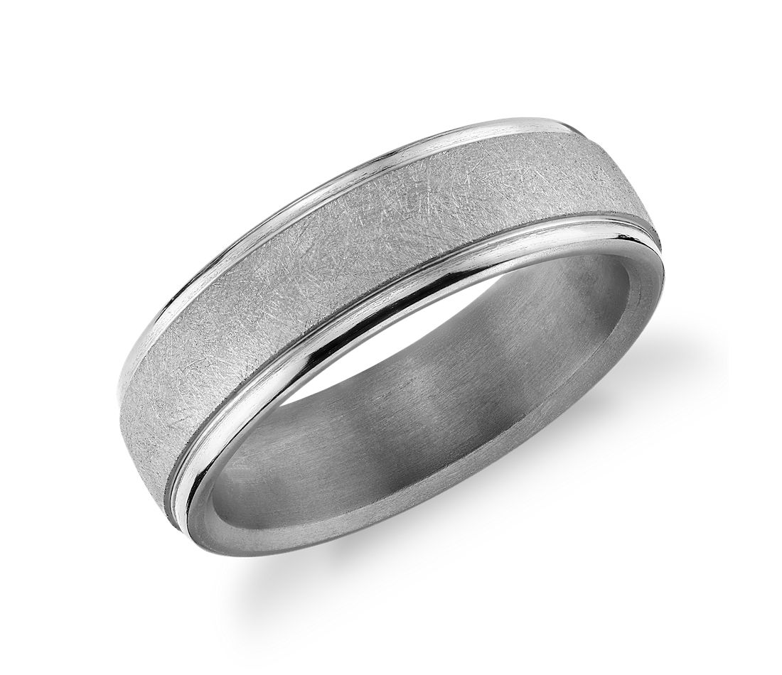 Round Edge Swirl Finish Wedding Band in Tantalum (6.5mm)