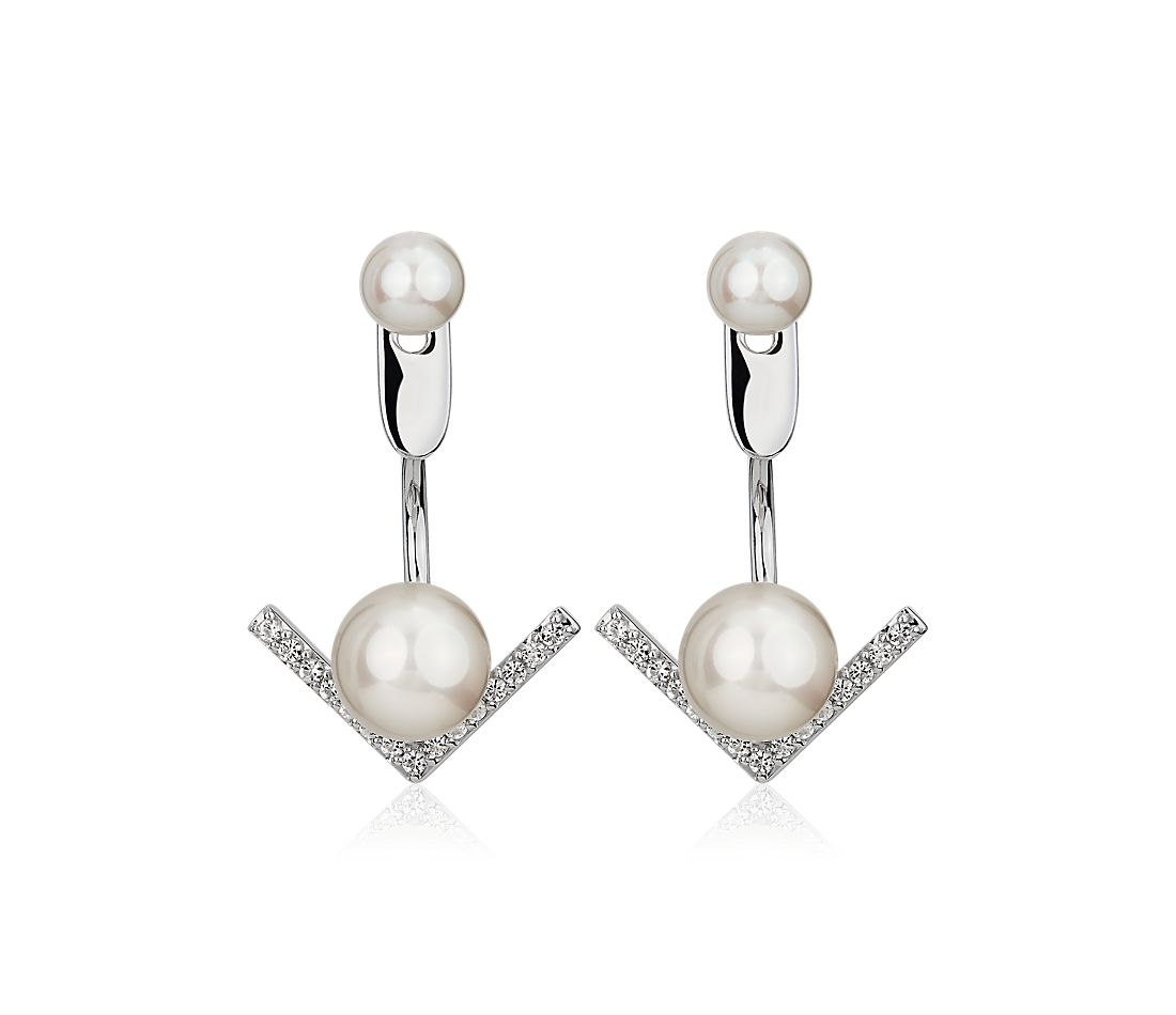 Round Freshwater Pearl Jacket Earrings in Sterling Silver