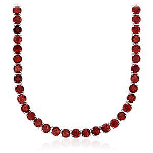 Round Garnet Necklace in Sterling Silver (5mm)