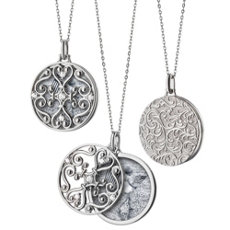 "Monica Rich Kosann Round Gate Locket with White Sapphire Detail in Sterling Silver (32"")"