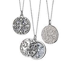 """Monica Rich Kosann Round Gate Locket with White Sapphire Detail in Sterling Silver (32"""")"""
