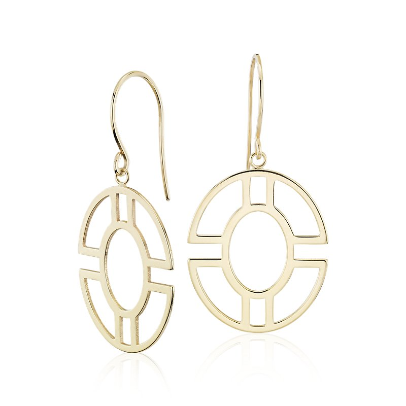 Round Geometric Drop Earrings in 14k Yellow Gold