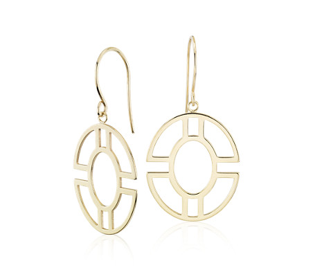 14k 金圆形几何吊式耳环