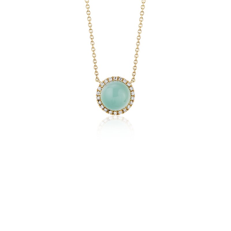 Petite Round Green Chalcedony Cabochon Pendant with Diamond Halo