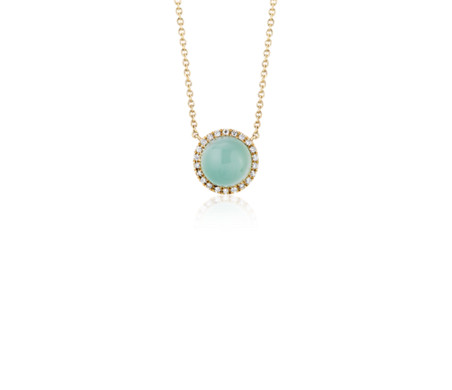 Petite Round Green Chalcedony Cabochon Pendant with Diamond Halo in 14k Yellow Gold (7mm)