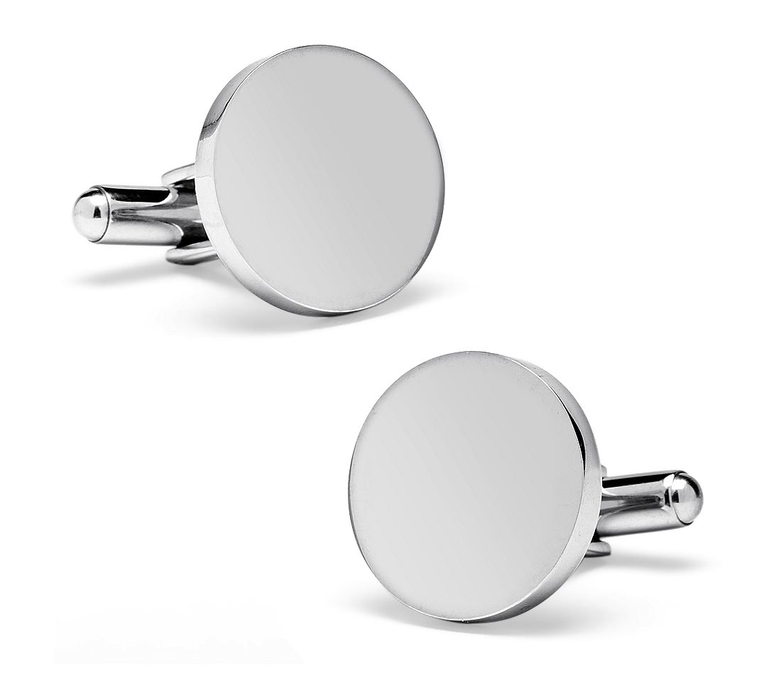 Round Cuff Links in Stainless Steel