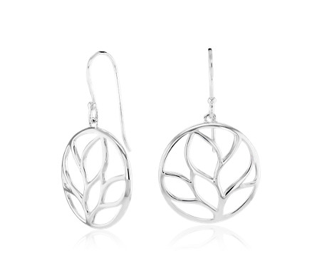 Round Leaf Earrings in Sterling Silver