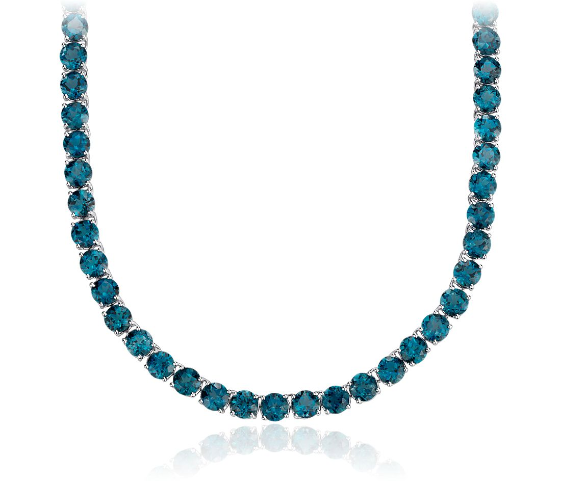 Round London Blue Topaz Eternity Necklace in Sterling Silver (5mm)
