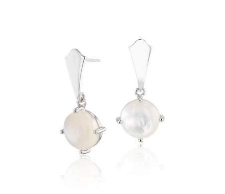 Round Mother of Pearl Drop Earrings in Sterling Silver (9mm)