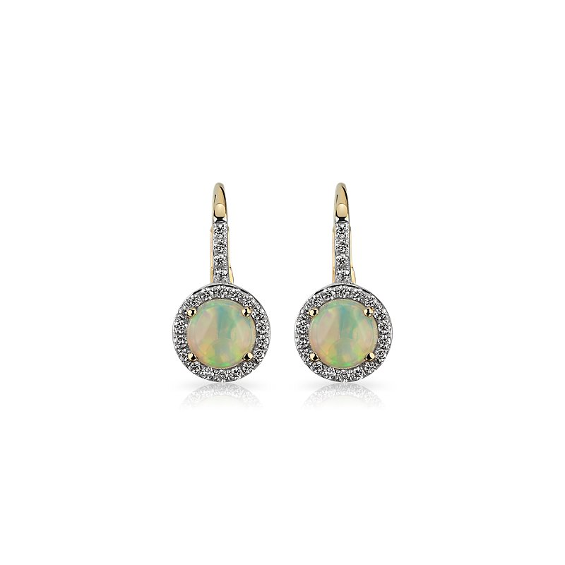 Round Opal and Diamond Halo Drop Earrings in 14k Yellow Gold 5.5m