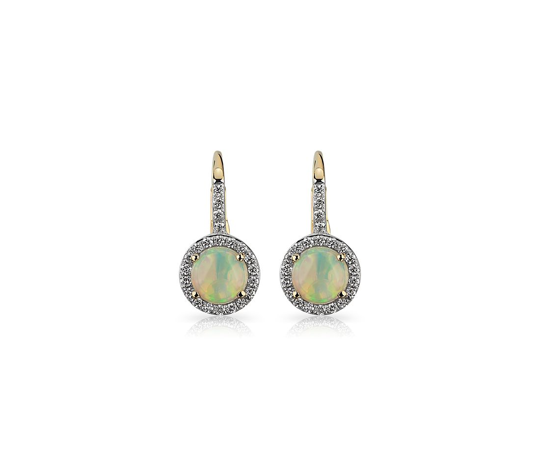 Round Opal and Diamond Halo Drop Earrings in 14k Yellow Gold 5.5mm