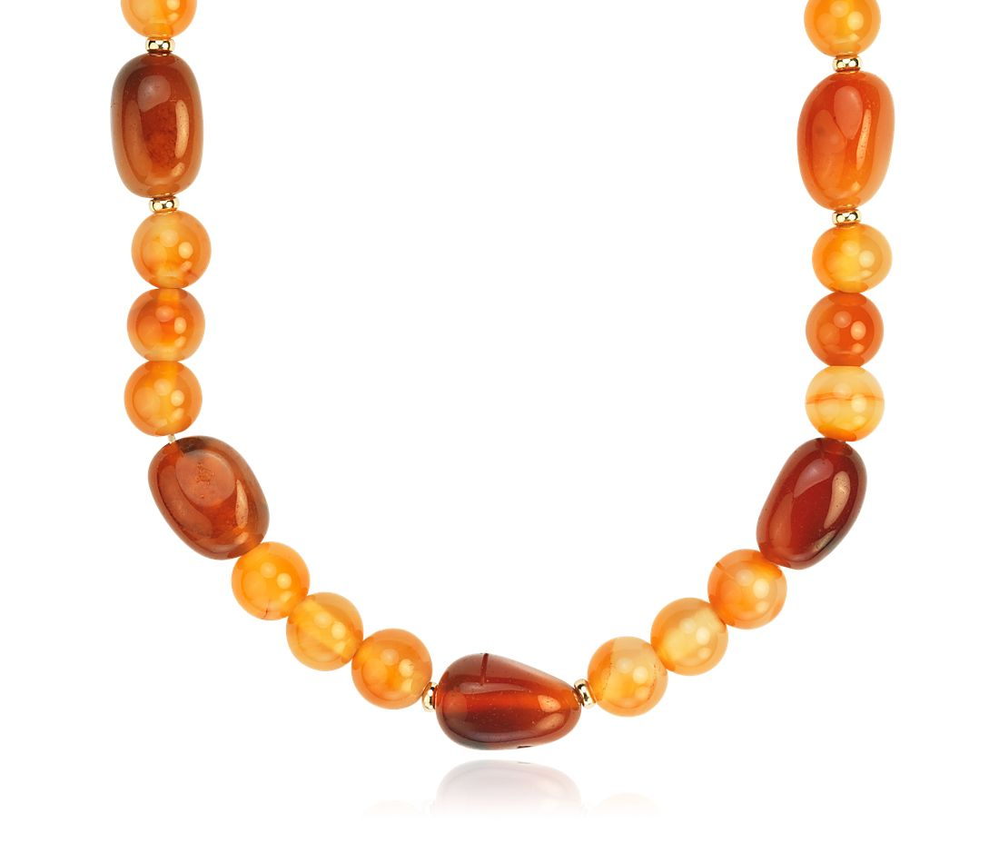Carnelian Round and Organic Bead Necklace with 14k Yellow Gold