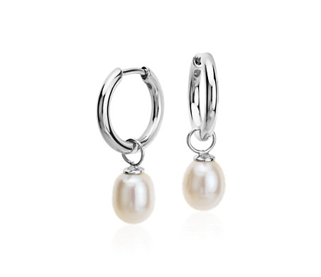 Round Freshwater Cultured Pearl Drop Hoop Earrings in Sterling Silver (7.5mm)