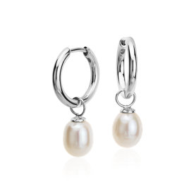 Round Freshwater Cultured Pearl Hoop Earrings in Sterling Silver (7.5mm)