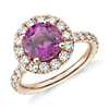Round Pink Sapphire Ring with Diamond Halo in 18k Rose Gold