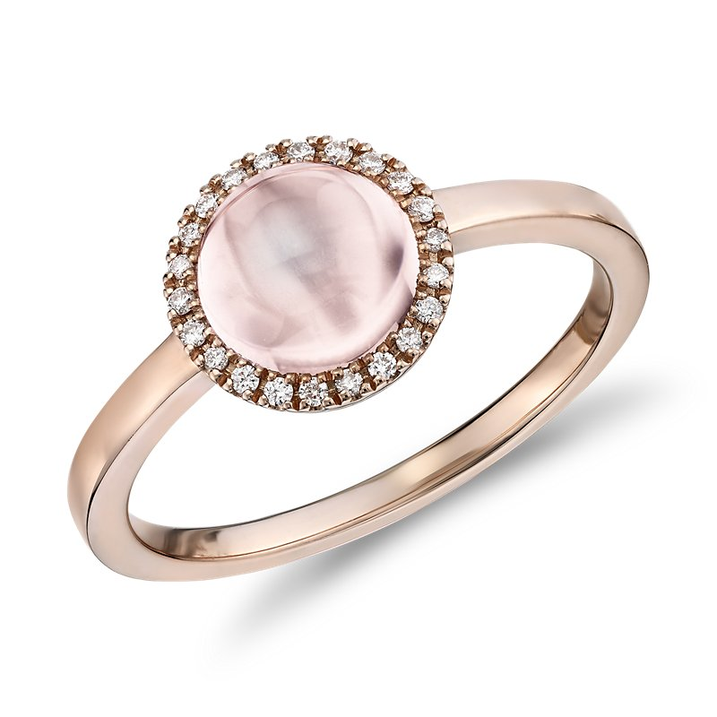 Petite Round Rose Quartz Cabochon Ring with Diamond Halo in 14k R