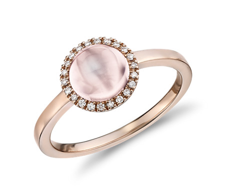 Petite Round Rose Quartz Cabochon Ring with Diamond Halo in 14k Rose Gold (7mm)