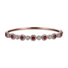 NUEVO. Brazalete tipo esclava con diamantes y rubíes redondos, en oro blanco de 14 k