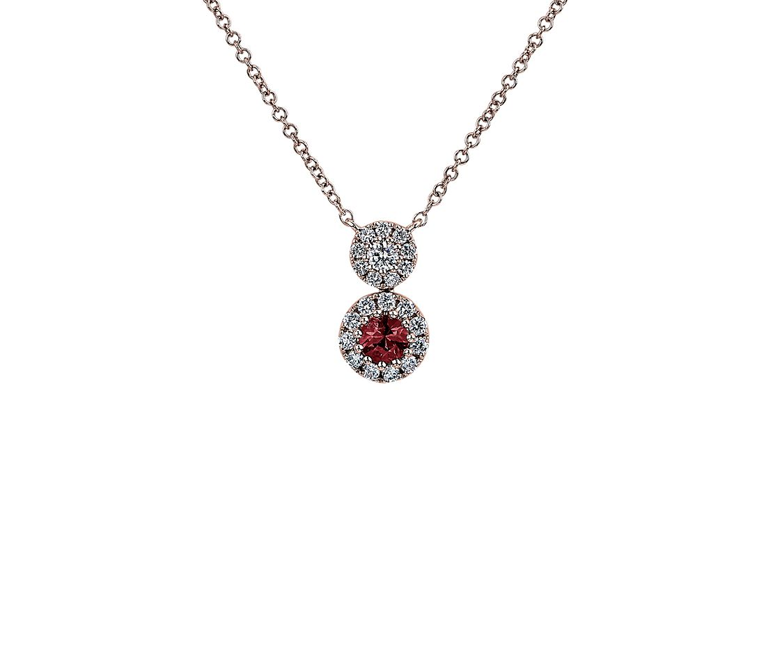 Round Ruby and Diamond Pendant in 14k White Gold
