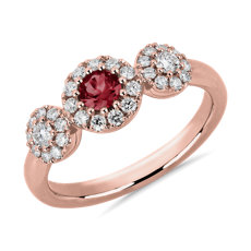 NEW Round Ruby and Diamond Ring in 14k White Gold