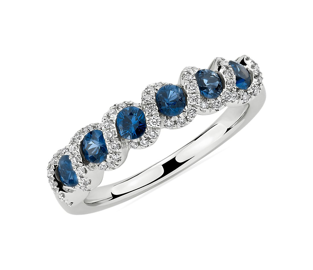 Round Sapphire and Diamond Band in 14k White Gold (2.8mm)