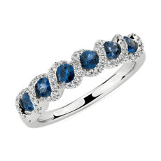 NEW Round Sapphire and Diamond Band in 14k White Gold (2.8mm)