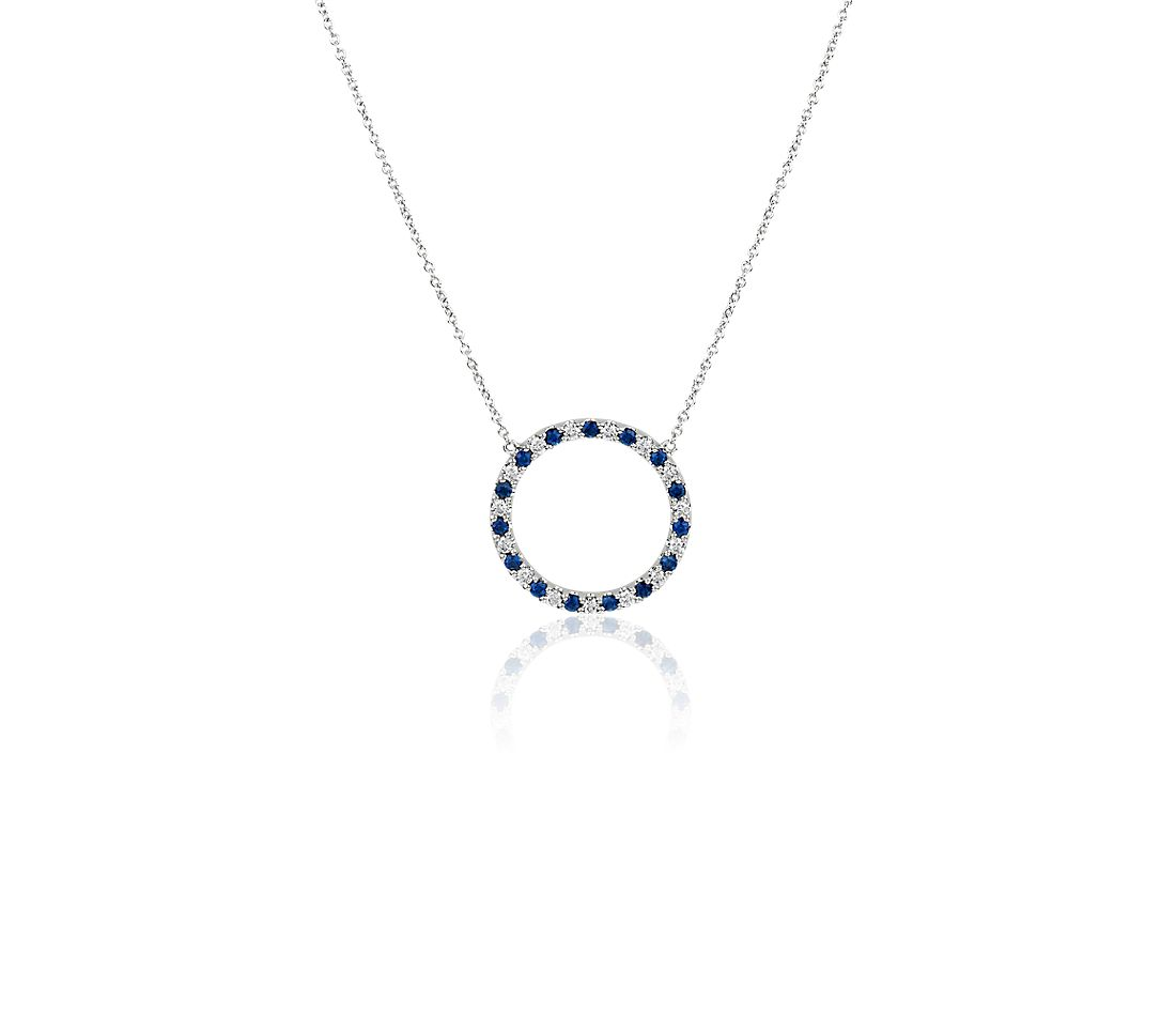 Round Sapphire and Diamond Circle Pendant in 14k White Gold