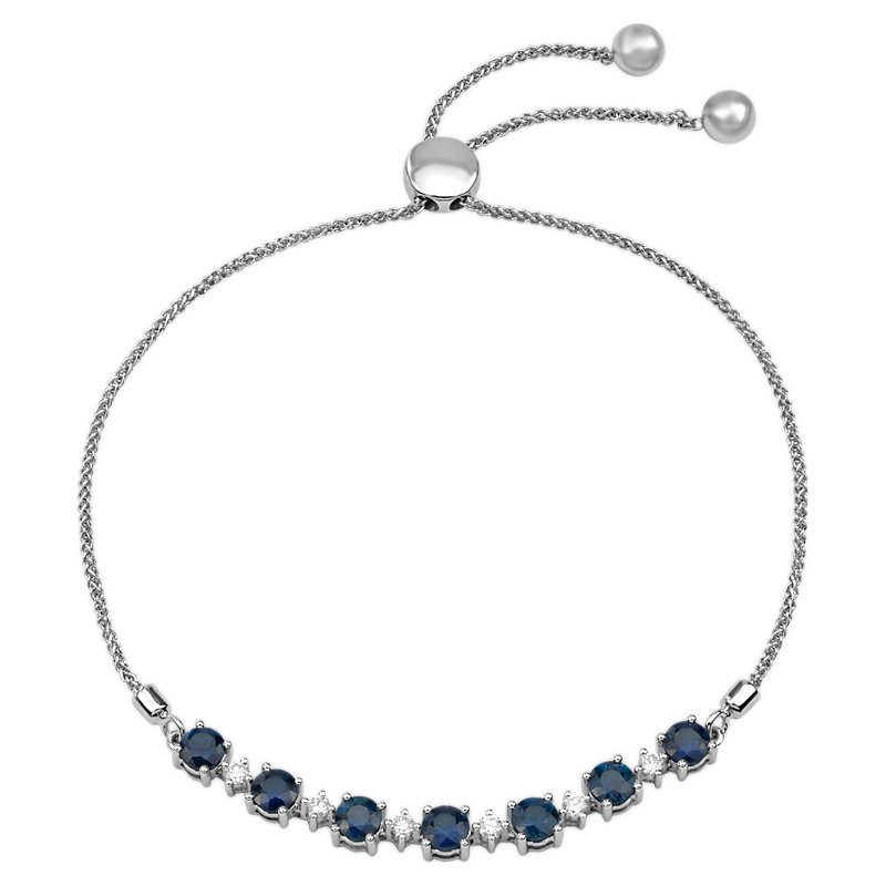 Round Sapphire and Diamond Bolo Bracelet in 14k White Gold (4mm)