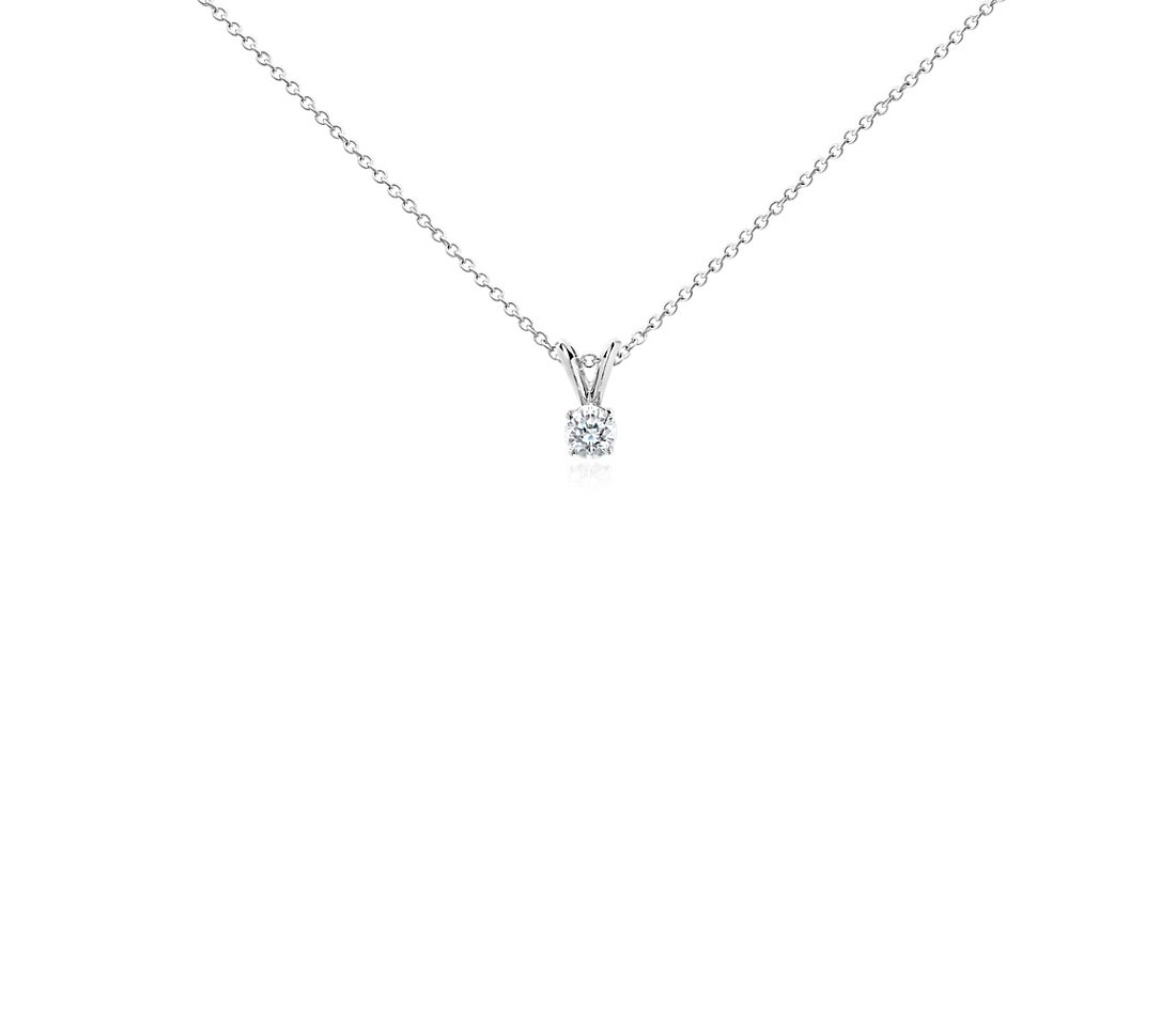 Diamond Solitaire Pendant In 14k White Gold 1 3 Ct Tw