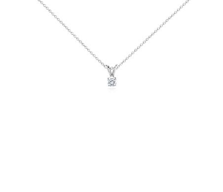 Pendentif solitaire diamant en or blanc 14carats (1/3carat, poids total)