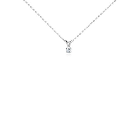 14k 白金 鑽石單石吊墜<br>( 1/3 克拉總重量)