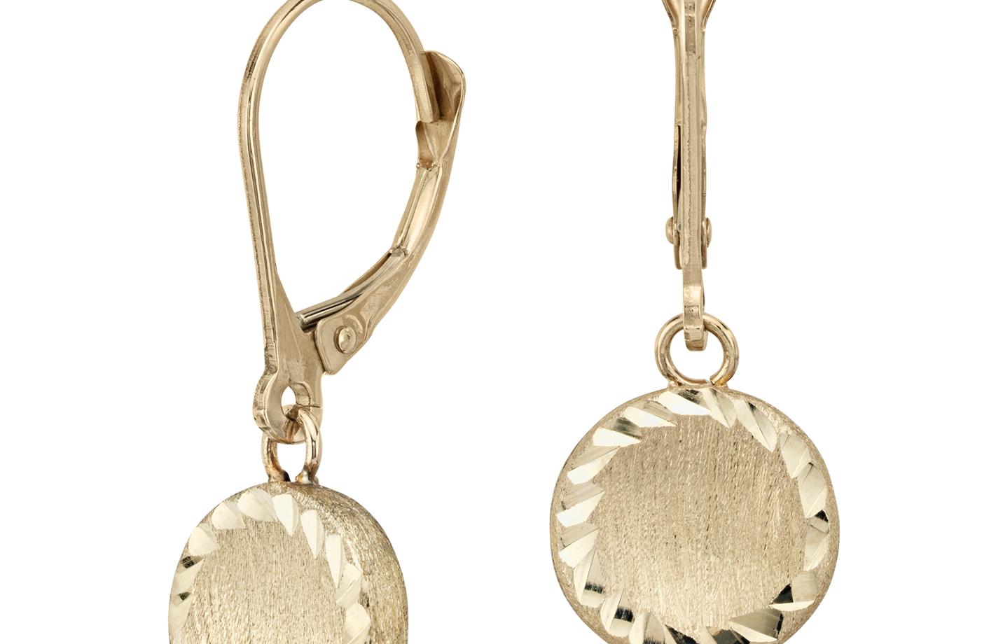 14k 金圆形吊式耳环