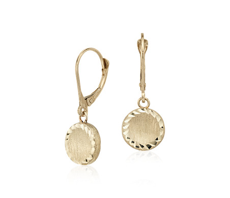Round Drop Earrings in 14k Italian Yellow Gold