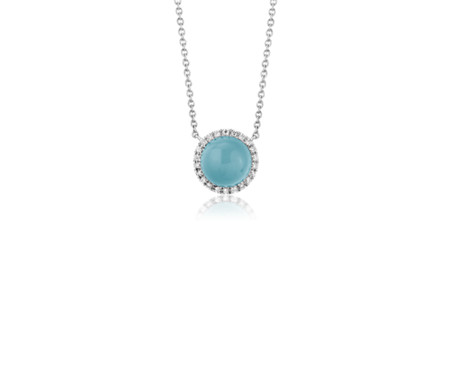 Petite Round Swiss Blue Topaz Cabochon Pendant with Diamond Halo in 14k White Gold (7mm)