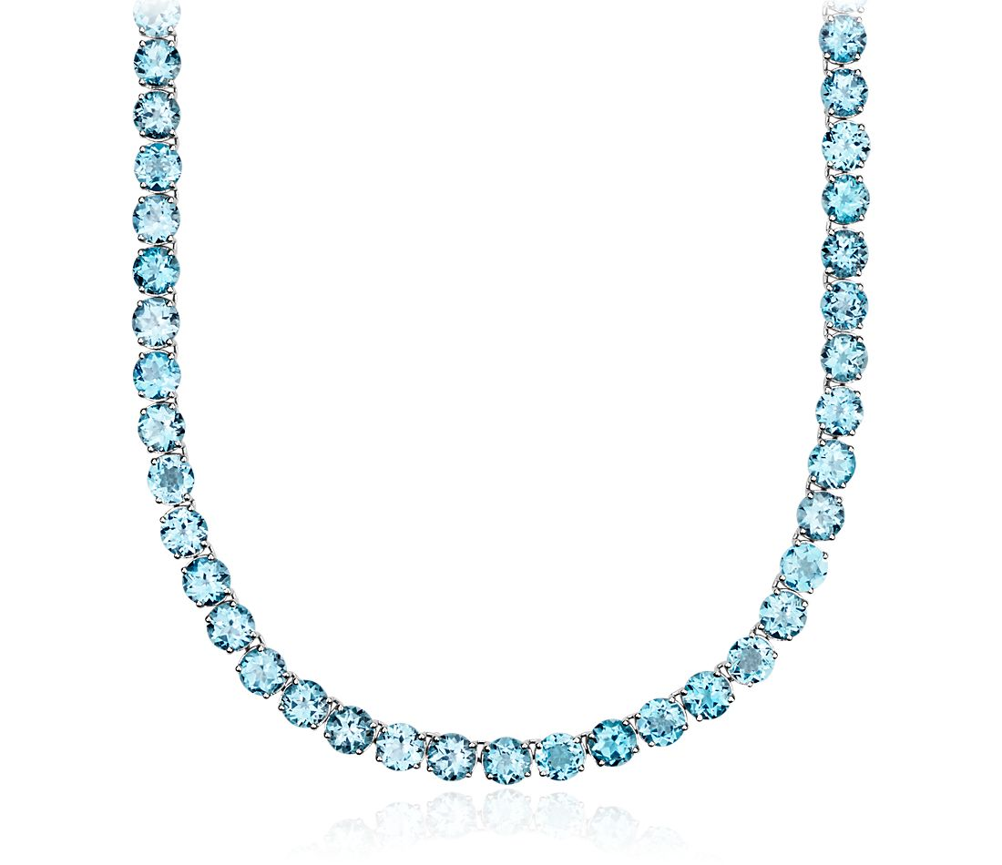 Round Swiss Blue Topaz Eternity Necklace in Sterling Silver (5mm)