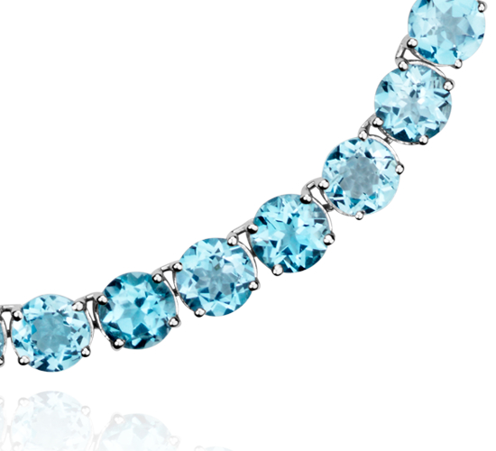 Round Swiss Blue Topaz Necklace in Sterling Silver (5mm)