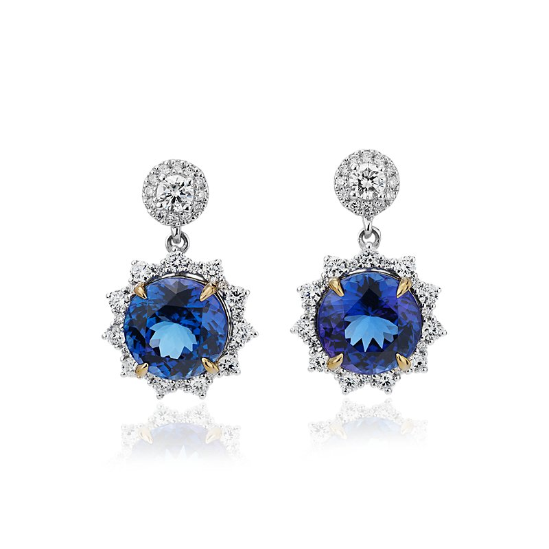 Round Tanzanite Drop Earrings with Diamond Sunburst Halo in 18k W