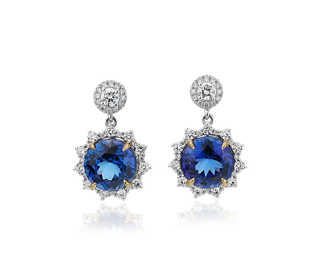 Pendants d'oreilles tanzanite ronde avec halo de diamants motif soleil en or blanc et jaune 18 carats (9,5 mm)