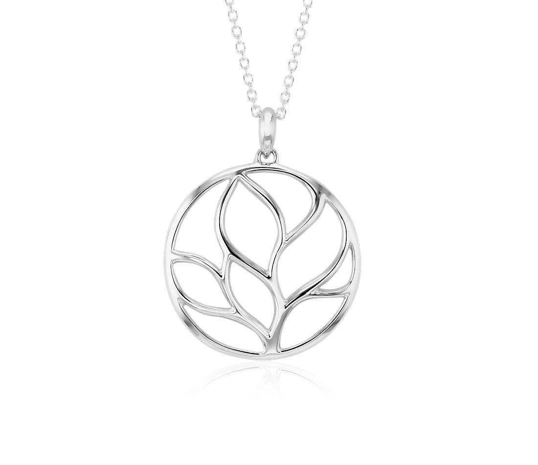Round Tree Branch Pendant in Sterling Silver