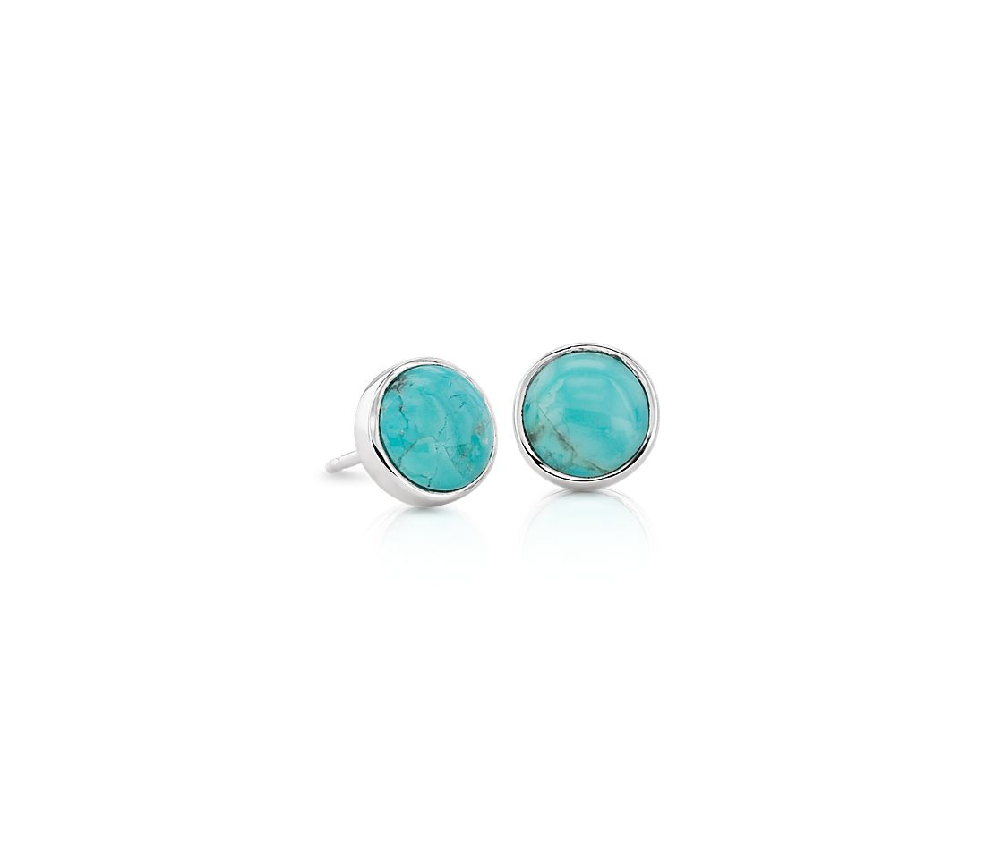 Round Turquoise Stud Earrings In Sterling Silver 6mm