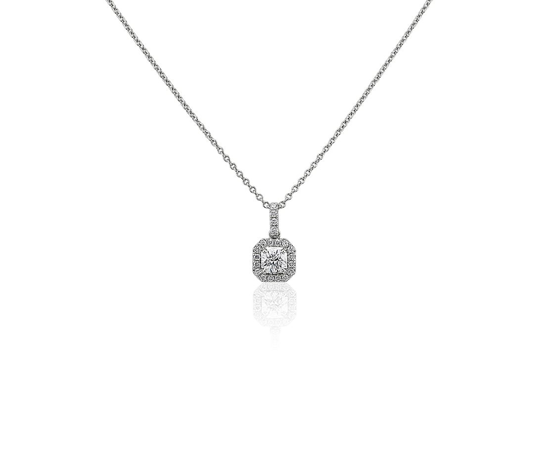 Geometric Halo Diamond Pendant in 14k White Gold (3/8 ctw)
